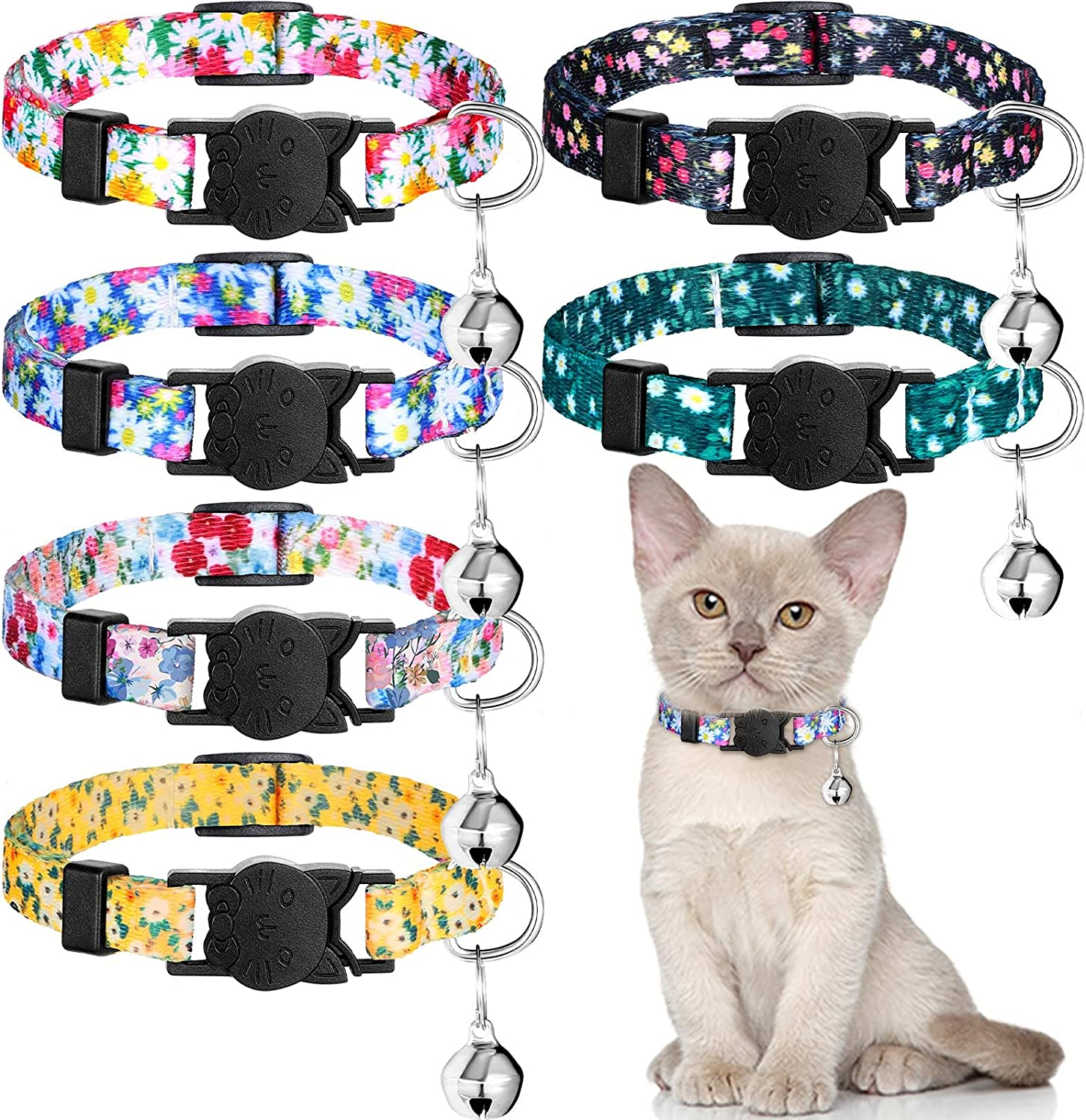 6 Pieces OFFicial site Breakaway Cat Collars Flower with discount Bell Patterns Summer