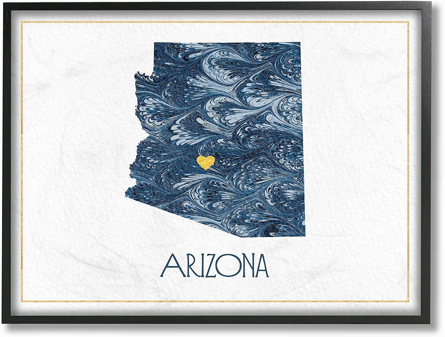 The Stupell Home Decor Arizona Minimal bluee Marbled Paper Silhouette Framed Giclee Texturized Art, 11 X 14, Multicolor