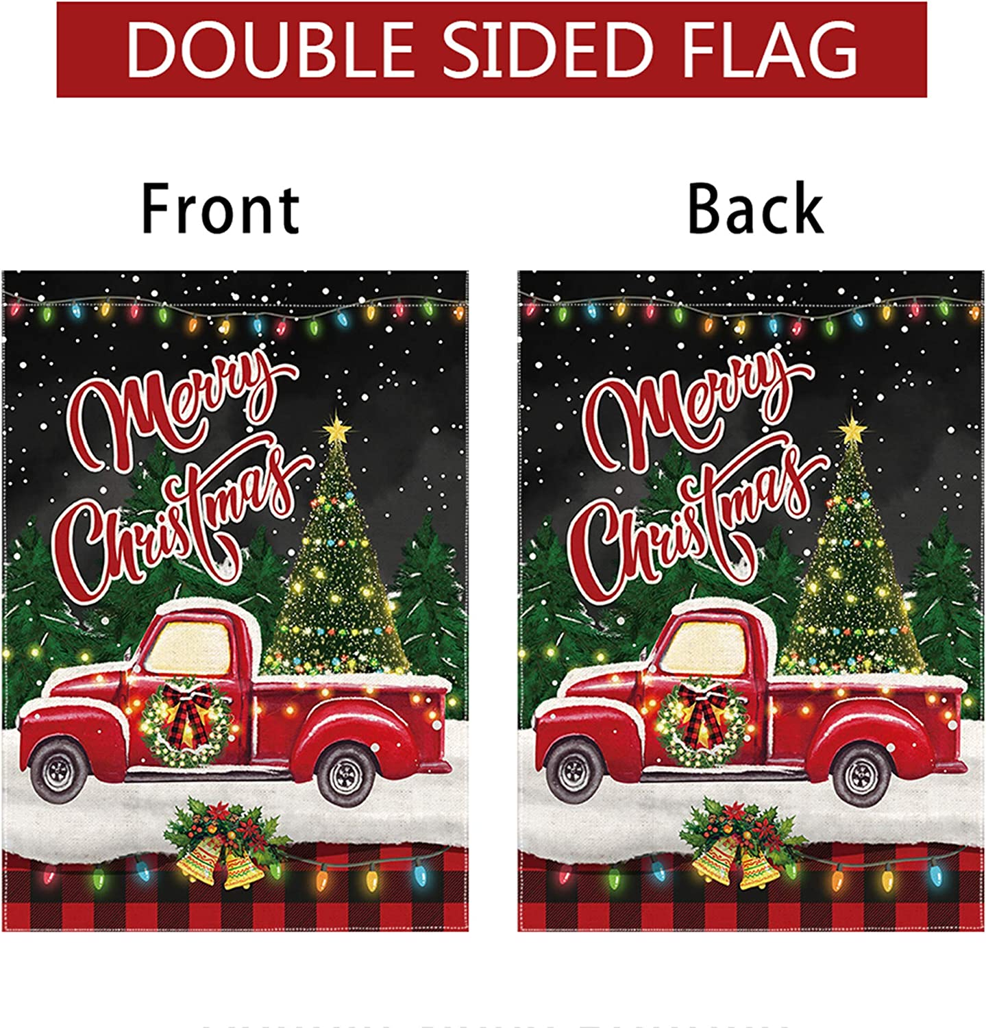 pinata Christmas Garden Flag 12 x 18 Double Sided Winter Holiday Merry Christmas Flag Yard Small Burlap Buffalo Plaid Christmas Decorations Red Truck Seasonal Outdoor Xmas Tree Rustic Farmhouse Banner