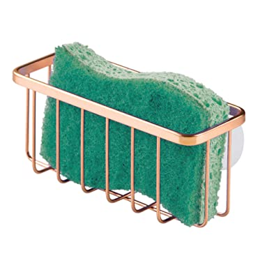 iDesign Gia Kitchen Sink Suction Holder for Sponges, Scrubbers, Soap, Kitchen, Bathroom, 6.75  x 2.5  x 2.5 , Copper