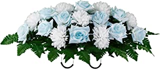 Sympathy Silks Artificial Cemetery Flowers Saddle-Arrangement - Light Blue Rose & White Mums Silk Fake Flowers for Outdoor Grave-Decorations - Non-Bleed Colors, Easy Fit