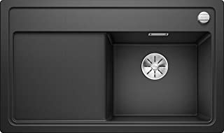 Blanco 鉑浪高 DampfgarPlus 6 S SILGRANIT PuraDur 水槽,帶排水遙控器 亮黑色 Holzschneidbrett 523737