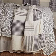 """Gray Gables Patchwork Quilted Throw Blanket, 60"""" x 50"""", Gingham Checks, Grain Sack and Ticking Stripes, Reversible to Flor..."""