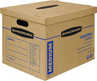 Bankers Box SmoothMove Classic Moving Boxes, Tape-Free Assembly, Easy Carry Handles, Medium, 18 x 15 x 14 Inches, (7717201)
