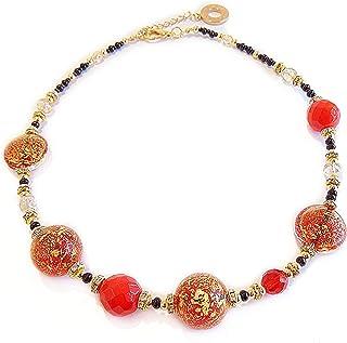 VENEZIA CLASSICA - Collana da Donna girocollo con perle in Vetro di Murano Originale, Collezione Linde, rosso con foglia i...