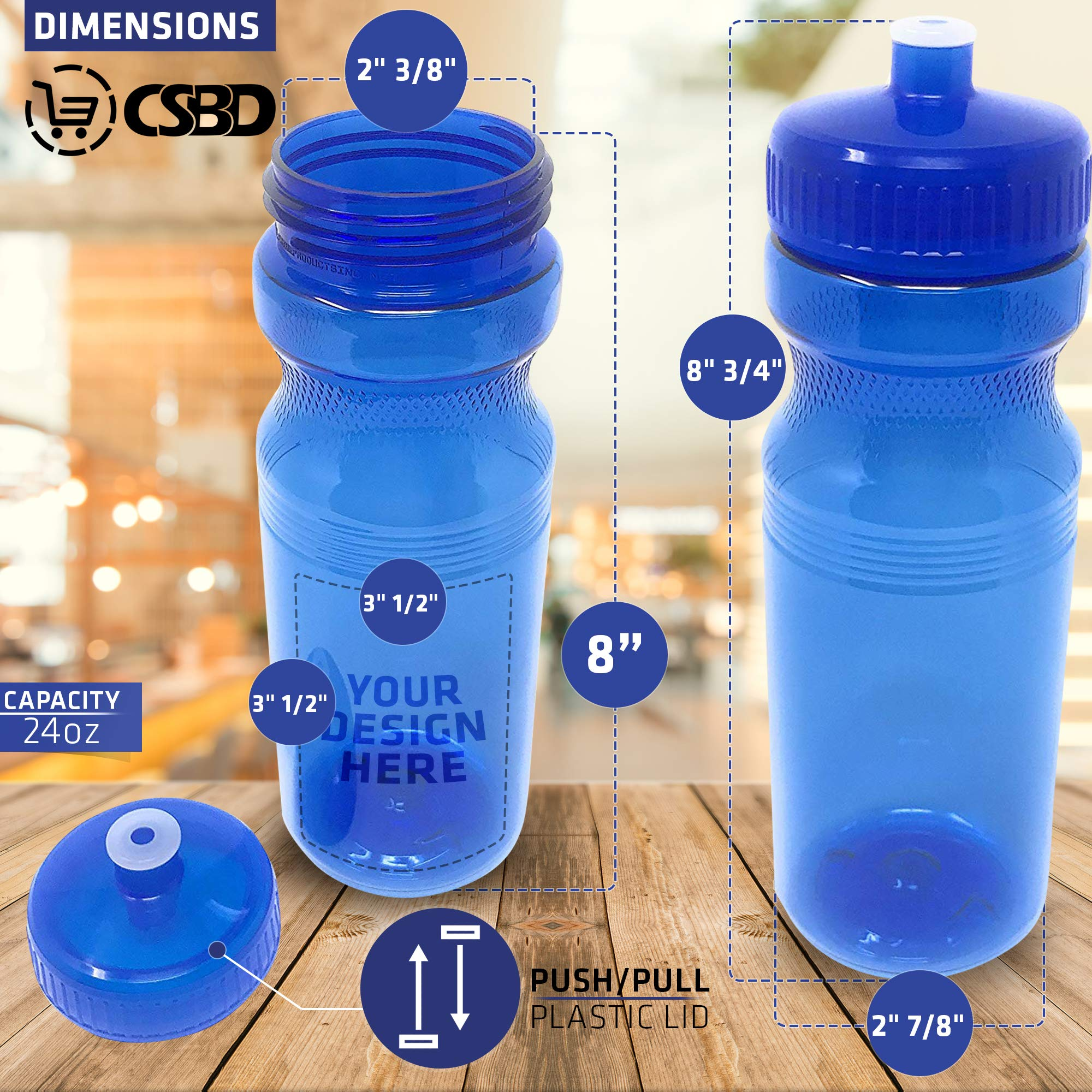 PET and HDPE Plastic CSBD Sport Water Bottle 4 Pack Made in USA Bulk BPA Free Multiple Colors /& Sizes Available