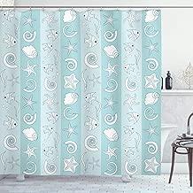 Ambesonne Nautical Shower Curtain, Marine Theme Sea Animals Fishes Shells on Striped Blue Background, Cloth Fabric Bathroom Decor Set with Hooks, 70