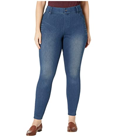 HUE Plus Size High-Waist Ultra Soft Denim Leggings (Steely Blue Wash) Women