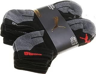 Puma Men's 6 Pair Premium Low Cut Cushioned Socks; Grey/Black/Red (Shoe 6-12)