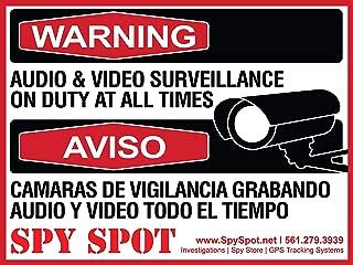6 Pack Decal Self Adhesive Audio & Video Sign Vinyl Weatherproof Resistant CCTV Surveillance Stickers English/Spanish Security Logo