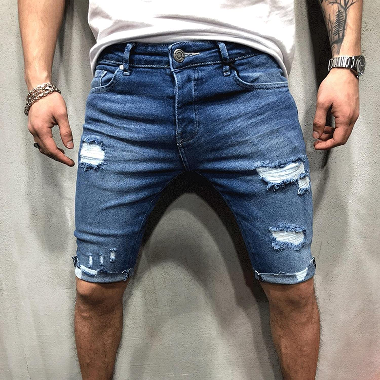 WoJogom Retro Mens Denim Chino Shorts Super Stretch Skinny Slim Summer Half Pant Cargo Jeans Shorts