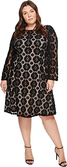 Adrianna Papell - Plus Size Textural Floral and Dot Lace Sheath Dress with Flounce Hem