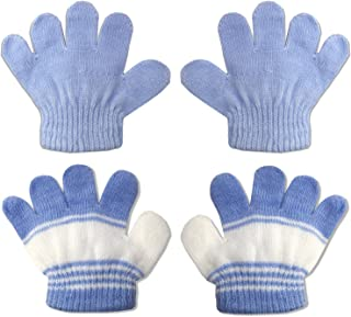 2 Pair Pack Infant to Toddler Baby Gloves Stretchy Knit Warm Winter (Ages 0-3)