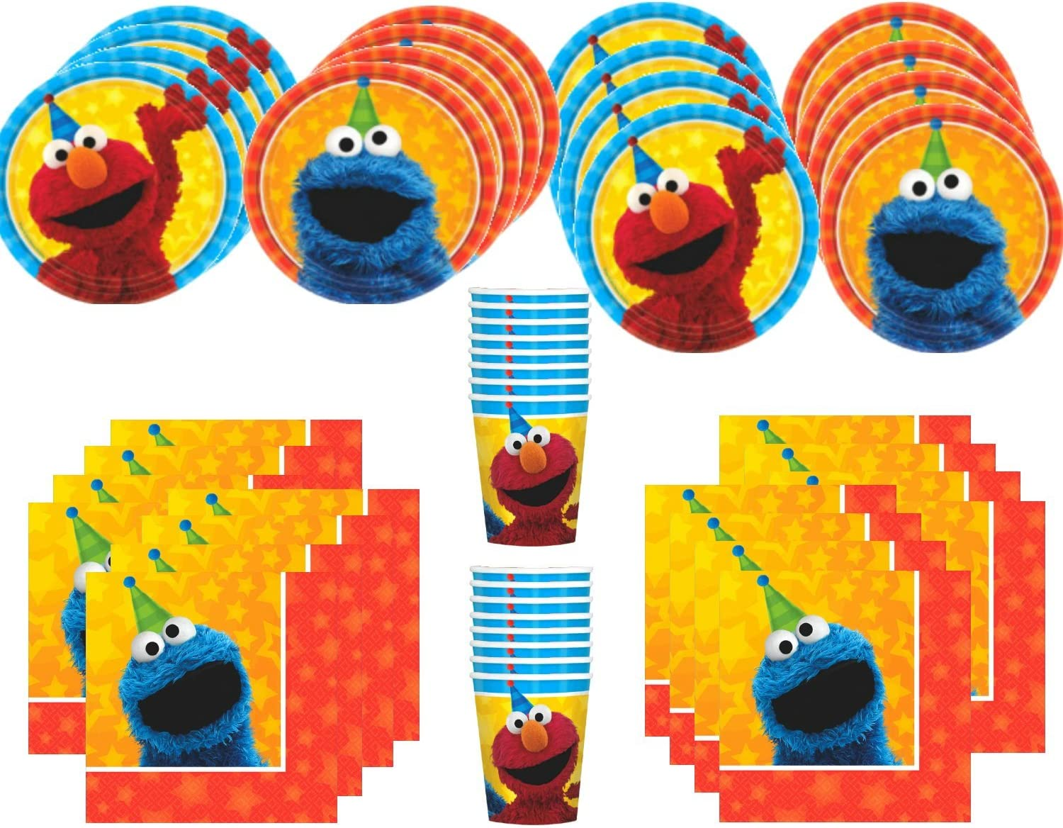MSS Sesame Street Birthday Party Supplies Bundle Pack for 16 Guests: Toys & Games