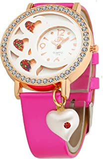 c6fc1d2f8be7e DFa Rose Gold White Heart Dial, Heart Dangle Pink Leather Strap Analogue  Watch for Girls