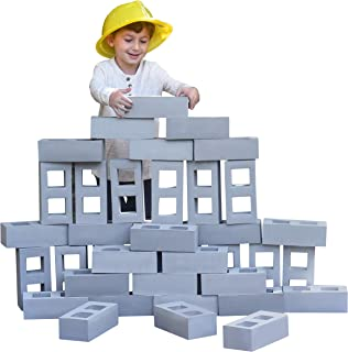 Building Blocks for Kids, Jumbo Size Extra-Thick Cinder Block, Builders Set for Construction and Stacking by Playlearn (20...