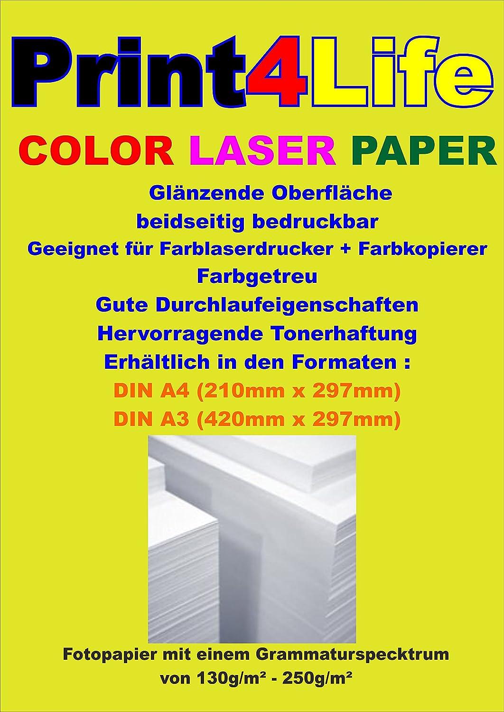 250 Blatt 170g  m² m² m² Farbe LASER Papier DIN A4. Glänzendes, beidseitig bedruckbares Fotopapier für Farblaserdrucker und – kopierer. Das Laser-Fotopapier steht für exzellente, kontrastreiche und farbgetreue Ausdrucke von Fotos, Bild c6e07c
