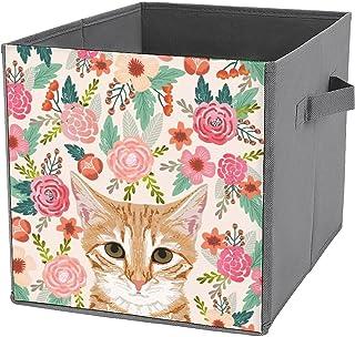 Cubes de rangement Tabby Cat Spring S - En toile - Pliable - Grande capacité - Panier de rangement pliable et panier à jouets