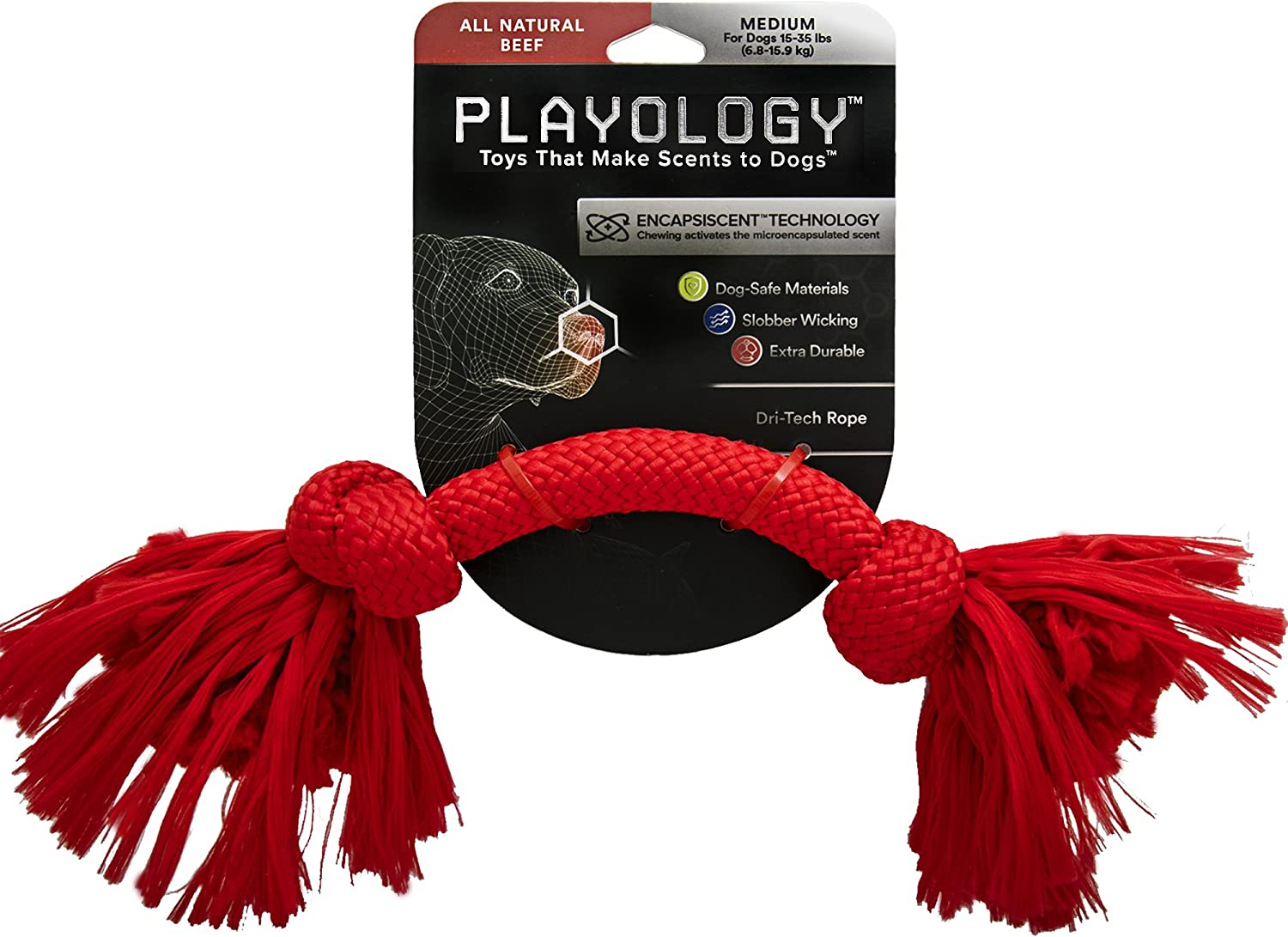 Playology DriTech Rope, a HealthEnhancing Beef Scented Chewable Dog Toy That Inspires Exercising Play, 12  Long Medium, in Red for Canines 1535 lb.
