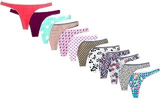 Women's no Show Cotton Thong Panties Assorted 12 Pack
