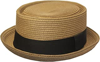 7618e420a4d08 Mens Structured 100% Paper Straw Flat Top Pork Pie Fedora Hat