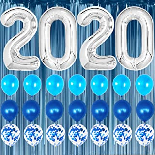 Graduation Party Supplies 2020 Blue and Silver - Blue Foil Fringe Curtain Backdrop   Large Silver 2020 Balloons   7 Blue Confetti Balloons   7 Blue Latex Balloons   2020 Graduation Decorations Kit