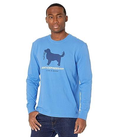 Life is Good Canine Antidepressant Long Sleeve Crushertm Tee (Royal Blue) Men