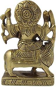 Durga Diosa Religioso Sentado En Latón Del León Escultura De Tamaño : 5 X 8 X 3 centímetro