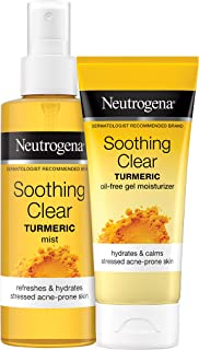 Neutrogena Soothing Clear Calming Hydrating Facial Mist Spray with Turmeric, 4.2 oz & Soothing Clear Gel Facial Moisturize...