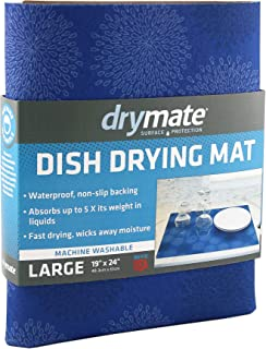 Drymate Dish Drying Mat, Premium XL (19 Inches x 24 Inches) Kitchen Dish Drying Pad – Absorbent/Waterproof – Machine Washable (Made in the USA) (Good Medicine Blue)