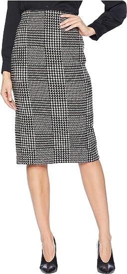 Glen Plaid Wool Pencil Skirt