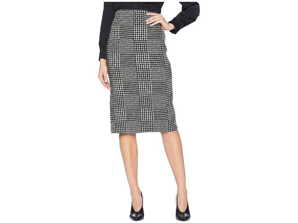 LAUREN Ralph Lauren Glen Plaid Wool Pencil Skirt (Polo Black/Mascarpone Cream) Women