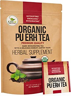 Organic Puerh Tea - Premium Quality Fermented Pu erh Tea - Energizing, Detoxifying & Delicious