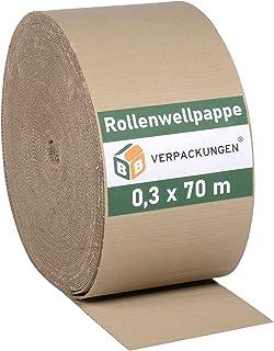 BB-Verpackungen Wellpappe Rollenwellpappe | 0,3 x 70 m 21m² |Wellkarton Rolle als Füllmaterial | Rollwellpappe 100% Papier recycelbar | ideal für Versand, Umzug & Abdeckung