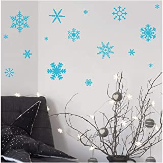 Small Snowflakes set of 30 wall saying vinyl lettering decal home decor art quote sticker (Light Blue)