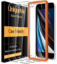 """[3 Pack] UniqueMe Screen Protector for iPhone SE 2020 4.7"""" Tempered Glass, [Case Friendly] 9H Hardness [Alignment Frame Easy Installation] High Definition Bubble Free"""
