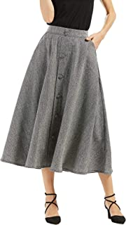 Woman's Vintage High Waist Front Button Long Skirt with Pockets