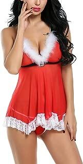 ELOVER Women's Christmas Lingerie Red Santa Babydoll Strap Chemise V Neck Sleepwear
