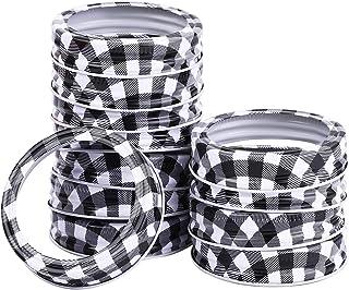 Ruisita 12 Pack Christmas Regular Mouth Canning Jar Lids Rings DIY Holiday Mason Jar Lid Replacement Metal Tin Split-type ...