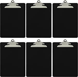Trade Quest Plastic Clipboard Opaque Color Letter Size Standard Clip (Pack of 6) (Black)