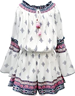 Girls' Long Sleeve Woven Romper in Floral Print, Size 7-16