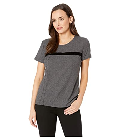 Vince Camuto Short Sleeve Cotton Slub Velvet Tape Detail Tee (Medium Heather Grey) Women