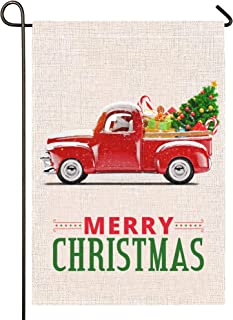 Atenia Burlap Garden Flag, Double Sided Garden Outdoor Yard Flags for Christmas Decor (Christmas Truck)