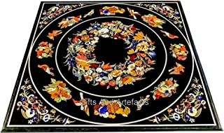 Gifts And Artefacts Table de salle à manger en marbre Noir 36 x 36 cm
