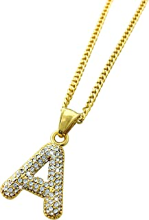Exo Jewel 18k Gold Plated Stainless Steel Iced Out Alphabet Letter A Pendant Necklace with 24