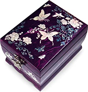 Hand Made Jewelry Music Box Ring Organizer Mother of Pearl Sea Shell Inlaid Mirror Lid 2 Level Butterflies Floral Design Purple