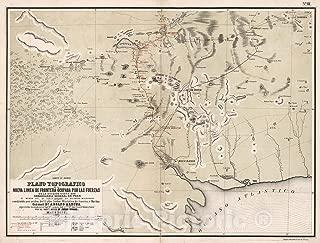 Historic Pictoric Map : Plano Topografico de la Nueva L?NEA de Frontera ocupada por las fuerzas de la Division de la Costa Sud, 1877, Vintage Wall Decor : 58in x 44in