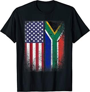 South African American Flag T-shirt South Africa Usa America