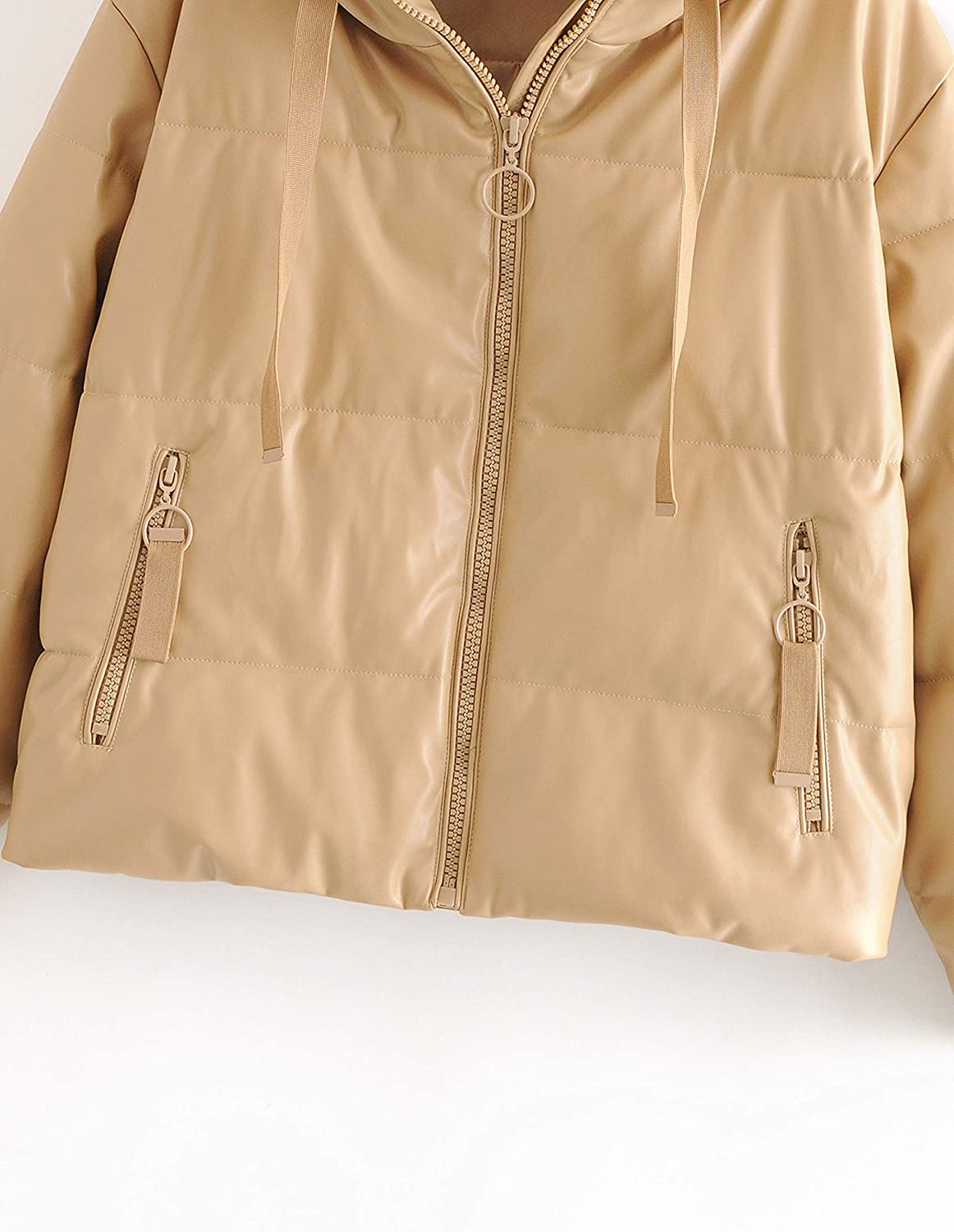 Uaneo Womens Faux Leather Quilted Padded Full Zip Casual Hooded Puffer Jackets(Khaki-L)