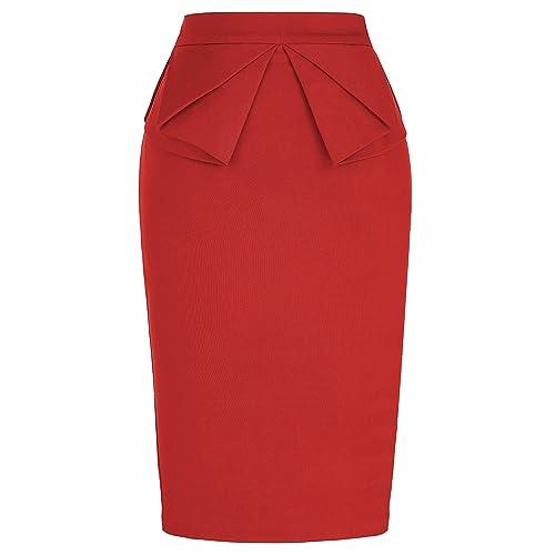 edf6ae6c35 PrettyWorld Vintage Dress Women's Wear to Work Stretchy Office Pencil Skirt